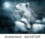photo manipulation of lion on... | Shutterstock . vector #661437109