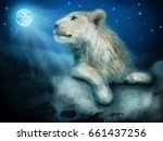 photo manipulation of lion on... | Shutterstock . vector #661437256