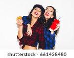 young hipster girls having fun... | Shutterstock . vector #661438480