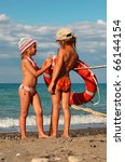 two little sisters in swimsuits ... | Shutterstock . vector #66144154