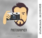 hipster  bearded man with... | Shutterstock .eps vector #661444408
