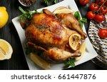 homemade baked chicken with... | Shutterstock . vector #661447876