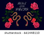 Stock vector illustration with rose and snake mirror rose illustration with rose bouquet for printed on the 661448110