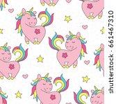 seamless cute unicorn pattern... | Shutterstock .eps vector #661467310