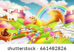 sweet landscape. candy land.... | Shutterstock .eps vector #661482826