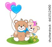 teddy bear with heart. color... | Shutterstock .eps vector #661512400