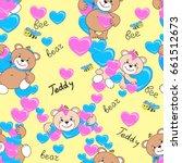 teddy bears seamless pattern.... | Shutterstock .eps vector #661512673