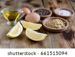 ingredients for mayonnaise... | Shutterstock . vector #661515094