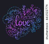 love text poster with lettering ... | Shutterstock . vector #661522774