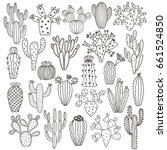 vector cactus set isolated on...