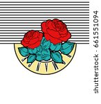 rock print with roses  romance... | Shutterstock .eps vector #661551094