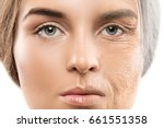 aging concept. comparison of... | Shutterstock . vector #661551358