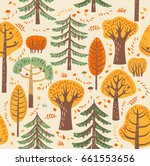 forest  trees. seamless...   Shutterstock .eps vector #661553656