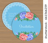 floral round invitation or... | Shutterstock .eps vector #661566259