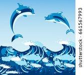 cute dolphins aquatic marine... | Shutterstock .eps vector #661567993