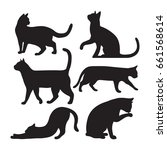 set of cats silhouettes on a... | Shutterstock .eps vector #661568614