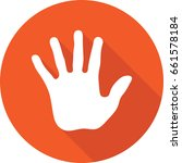 stop hand round vector icon on...