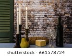 bottle of wine and two wine... | Shutterstock . vector #661578724