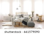 bright apartment with pallet... | Shutterstock . vector #661579090