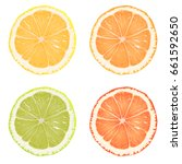 slices  chop  lemon slices ... | Shutterstock .eps vector #661592650