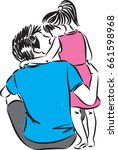 father and little girl vector... | Shutterstock .eps vector #661598968
