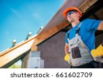 proud caucasian home builder... | Shutterstock . vector #661602709