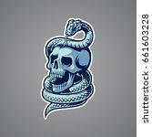 skull with snake illustration   Shutterstock .eps vector #661603228