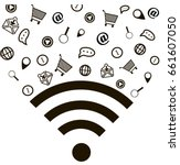 wi fi  different wi fi icons  | Shutterstock .eps vector #661607050