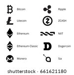 most popular cryptocurrency... | Shutterstock .eps vector #661621180