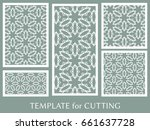 decorative panels set for laser ... | Shutterstock .eps vector #661637728