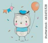 cute owlet with a balloon... | Shutterstock .eps vector #661651528