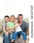 joyful family sitting on the... | Shutterstock . vector #66167107