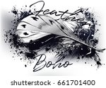 beautiful feather on a grunge... | Shutterstock .eps vector #661701400