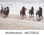 Winter horse racing - stock photo