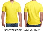 yellow polo t shirt mock up ... | Shutterstock . vector #661704604