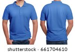 blue polo t shirt mock up ... | Shutterstock . vector #661704610