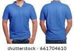 blue polo t shirt mock up ... | Shutterstock . vector #661704610