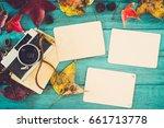 retro camera and empty old...   Shutterstock . vector #661713778