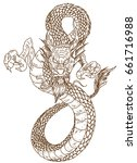 hand drawn and zentangle dragon ... | Shutterstock .eps vector #661716988
