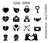 love   heart icon set vector... | Shutterstock .eps vector #661722004
