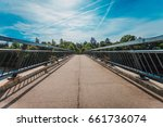 wooden bridge over river ogre... | Shutterstock . vector #661736074
