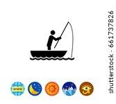 man in boat fishing icon | Shutterstock .eps vector #661737826
