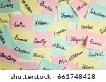 Small photo of Closeup of paper stickers with different names on white wall. Concept of choosing baby name