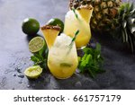 cold pineapple cocktail with... | Shutterstock . vector #661757179