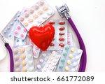 close up of pills spread over... | Shutterstock . vector #661772089