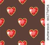 red heart golden jewellery... | Shutterstock .eps vector #661776916
