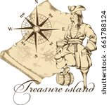 pirate. engraved style. vector... | Shutterstock .eps vector #661788124