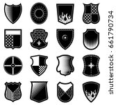 icon set of shields in black... | Shutterstock .eps vector #661790734