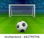 soccer ball on green field in... | Shutterstock .eps vector #661790746