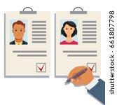 analyzing staff resume vector.... | Shutterstock .eps vector #661807798